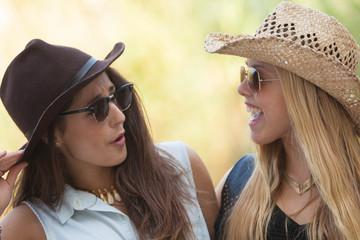 friendship two girls chatting having fun