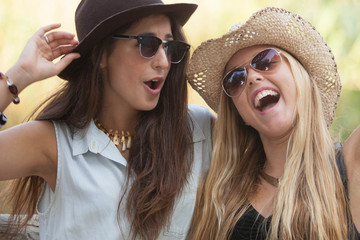 girls laughing having fun in summer