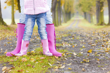 detail of mother and daughter wearing rubber boots in autumnal a