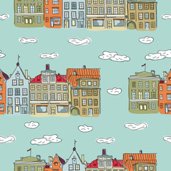 Vector seamless pattern background with homes old town