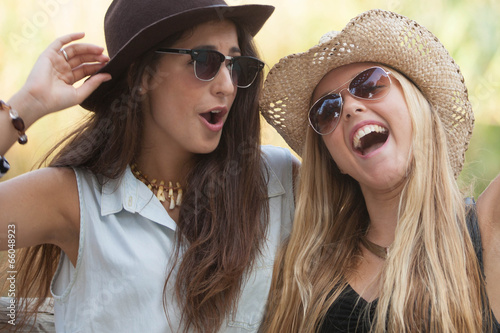 canvas print picture girls laughing having fun in summer