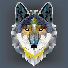 Wolf  head geometric pattern. vector