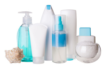 Composition of cosmetic bottles and spa salt