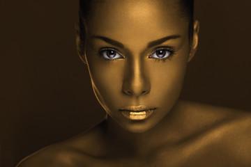 Golden African beauty portrait