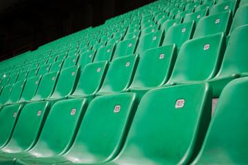 Perspective of many empty stadium seats