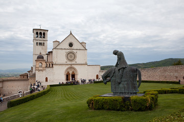Assisi. Italy. Monument to St. Francis and St. Francis.