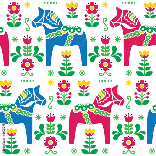 Swedish folk art Dala or Daleclarian horse seamless pattern - 66050991