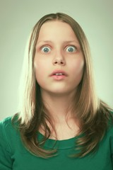 Portrait of a surprised teen girl