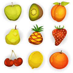 Cartoon Fruit Icons Set