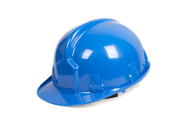 Blue hard hat isolated on white with clipping path.