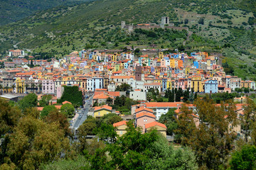 Colorful houses of Bosa town in Sardinia