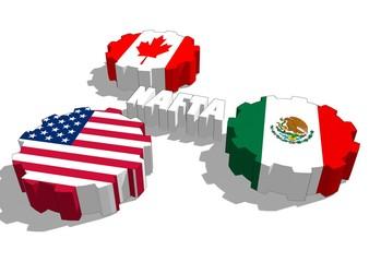 North American Free Trade Agreement nafta members flags on gears