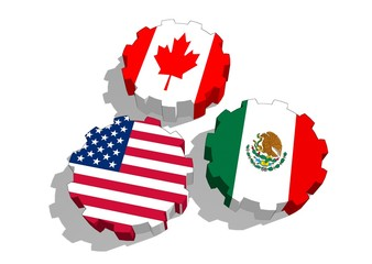 North American Free Trade Agreement nafta members flags on gears