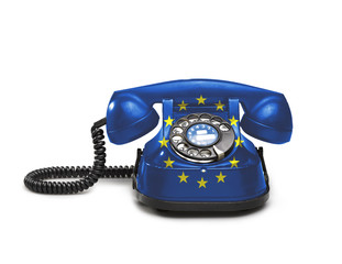 Office: old and vintage telephone with the Europe flag