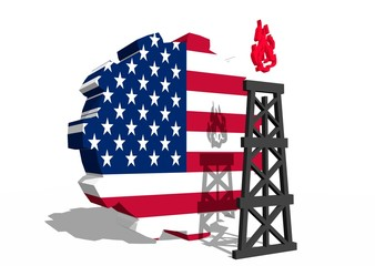 usa national flag on gear and 3d gas rig model near