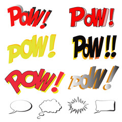 POW Comic book explosion sound effect with speech bubbles