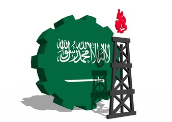 saudi arabia national flag on gear and 3d gas rig model near