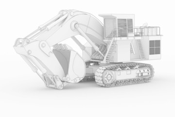 Heavy Excavator II - white isolated