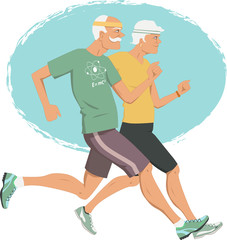 Active retirement. Elderly couple jogging