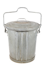 Old galvanized garbage can with lid and handle
