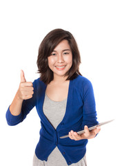 Woman thumb up with digital tablet on white background.
