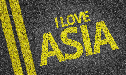 I Love Asia written on the road