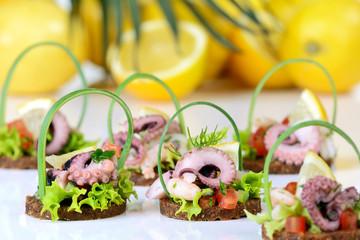 Fingerfood mit Meeresfrüchten