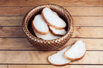 Slices of bread in wicker basket