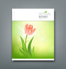 Cover Magazine Beautiful tulips on nature background