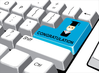 Social media concept: Enter button with congratulation on comput