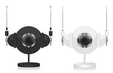 Black and white eye camera and headphones