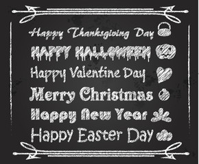 Chalk Font holiday greeting on blackboard
