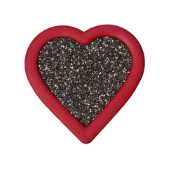 Red Chia Seed Heart on White