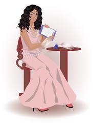 Beautiful woman writing, vector illustration