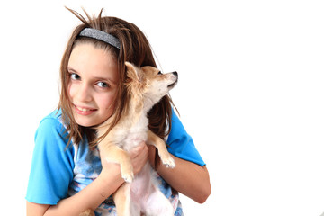 small girl and chihuahua