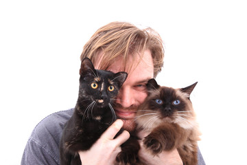 man and two cats