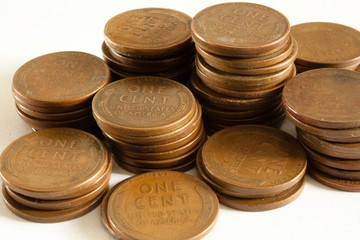Wheat Pennies in Stacks