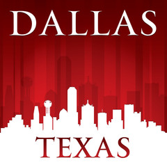 Dallas Texas city skyline silhouette red background