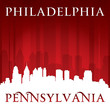 Philadelphia Pennsylvania city skyline silhouette red background