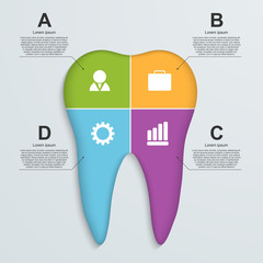Tooth infographic background.