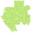 Map of Gabon - Africa - in a mosaic of green squares