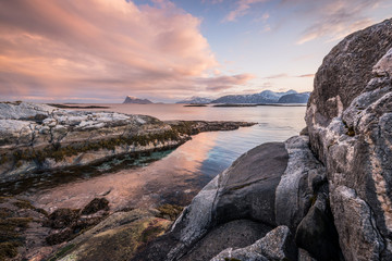 Early morning photograph of a scenic seascape in Norway