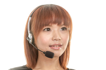 Call center operator with headset mic