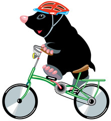 cartoon mole riding a bike