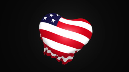 USA flag draped over invisible heart