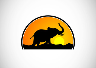 african elephant in silhouete logo