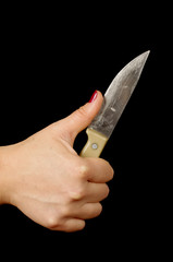 Female hand cut the finger with knife