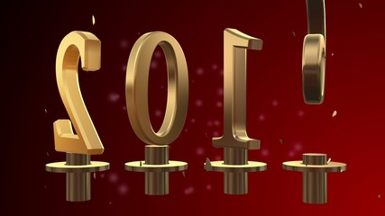 2016 text 3D new year gold metal animation