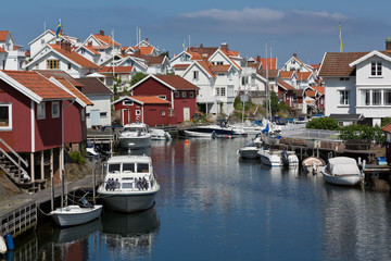 View over fishing village Grundsund located in Bohuslan, Sweden.