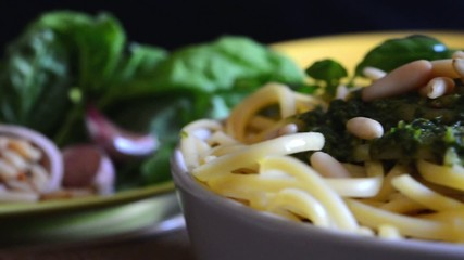linguine pasta by pesto genovese motion clip
